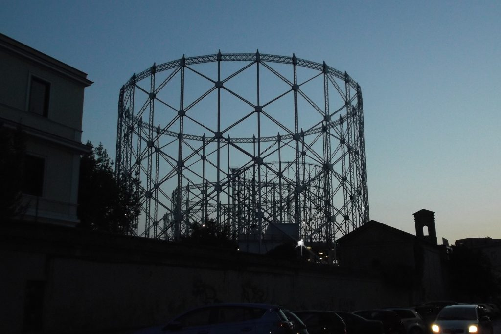 Rome's Gazometro at dusk