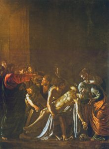 Painting of the raising of Lazarus by Caravaggio
