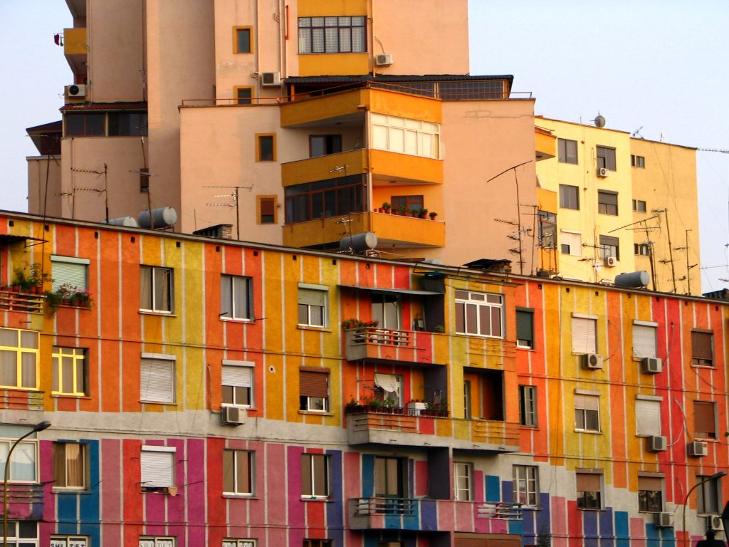 In the project Coloring Tirana, facades of the former state-residential complexes were painted to improve well-being and social security.