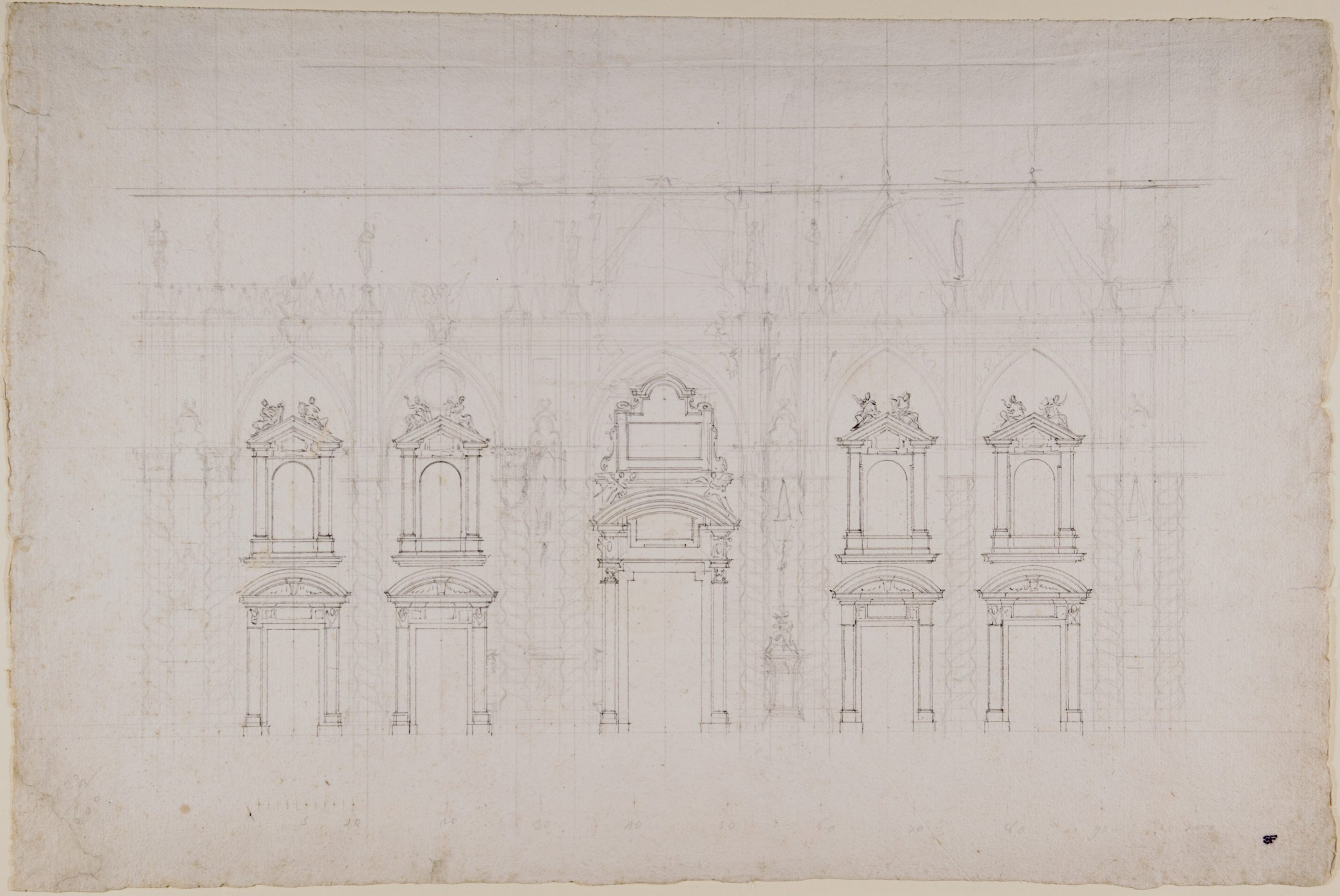 Detail study for the façade of Milan cathedral 1700–1773, by Luigi Vanvitelli