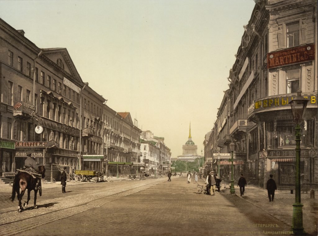The Nevsky Prospekt framed in a 19th century photography.