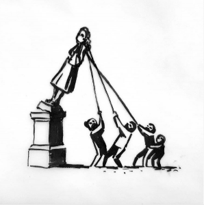The BLM Banksy statue contributes to the discussion about tearing down the many other colonialist statues and statues of slave traders around the world.
