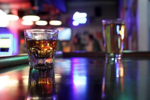 Stock photo of glasses on a bar