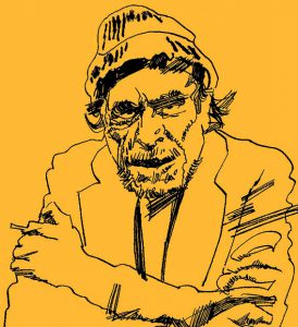 Illustration of Charles Bukowski, Post Office's author, in yellow and black