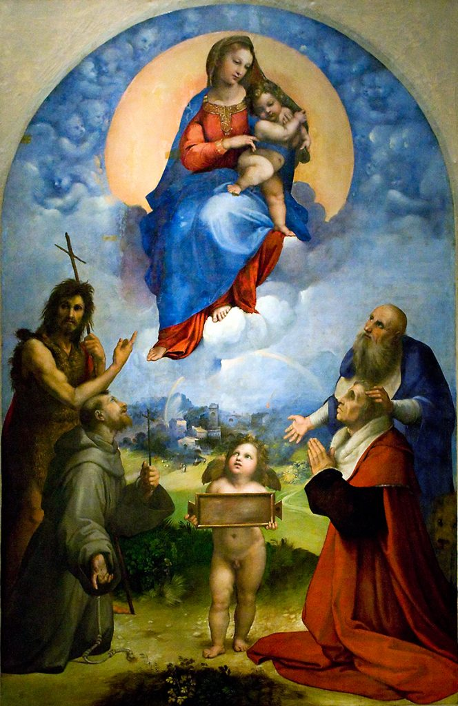 A painting on panel of the Madonna and child surrounded by Saints and Cherubs