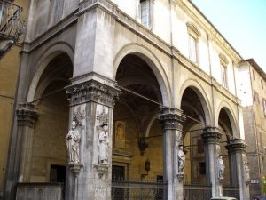 Saint Peter and Saint Paul   The new Renaissance standards - The statues' location is the Loggia della Mercanzia, in Siena, Italy