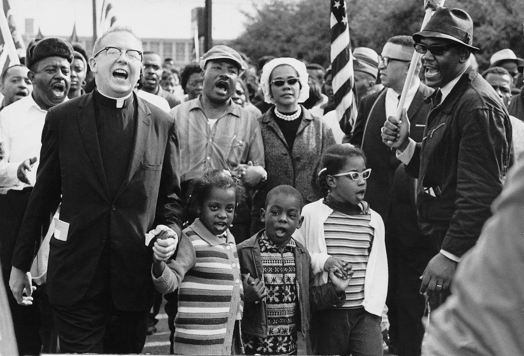 Selma - An old photo of the front line of the Selma to Montgomery march 1965 w/ Martin Luther King Jr.