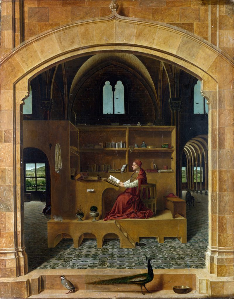 St. Jerome reading in his studio, painted by Antonello da Messina, 1475 ca.