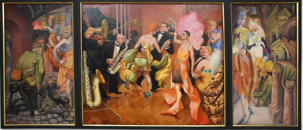 Otto Dix's Metropolis shows the contrast between poverty and social difficulties after WWI, with the excesses and energy of the metropolitan nightlife.