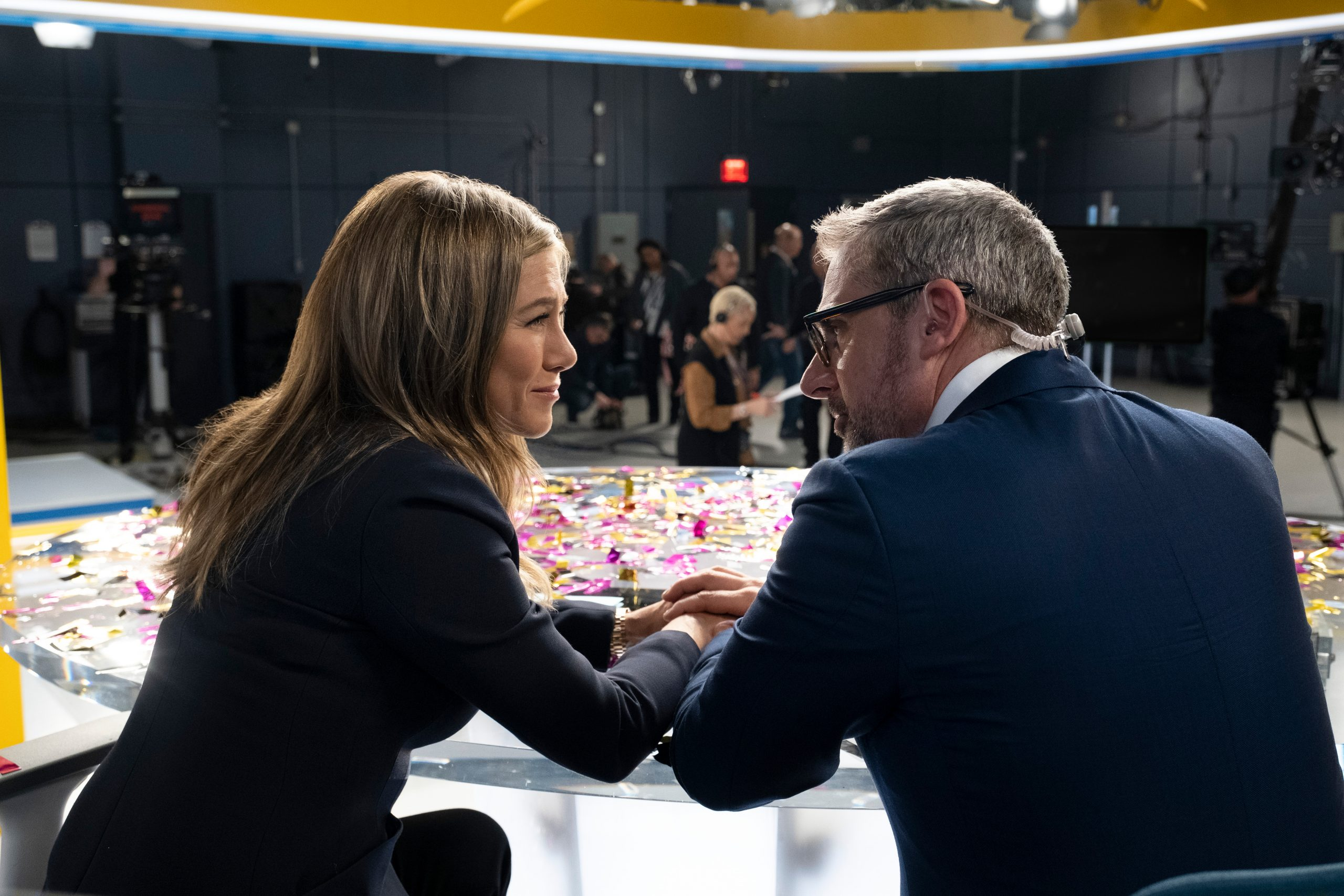"Jennifer Aniston and Steve Carell in ""The Morning Show,"""