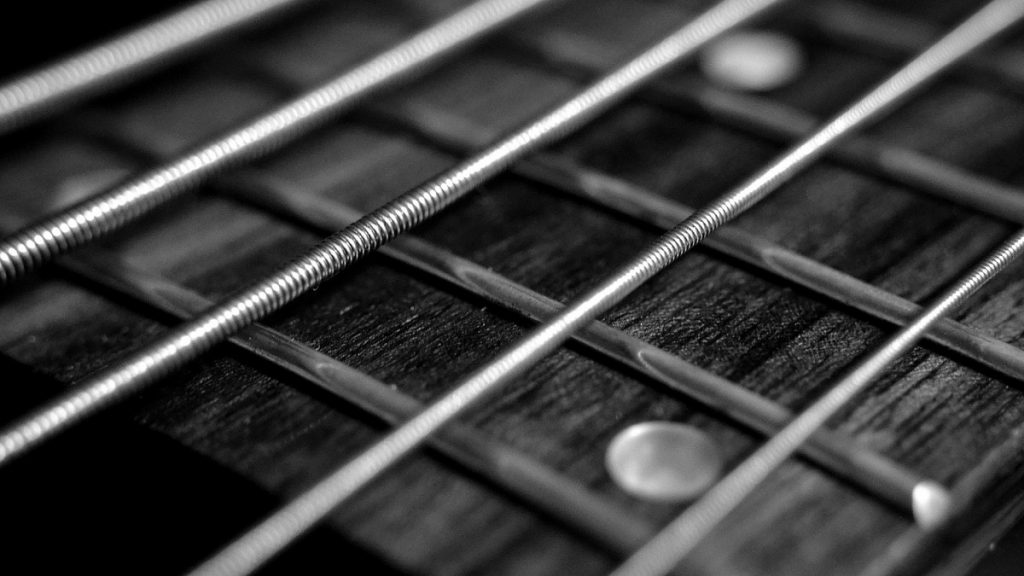 A macro, black and white photo of a guitar's string.