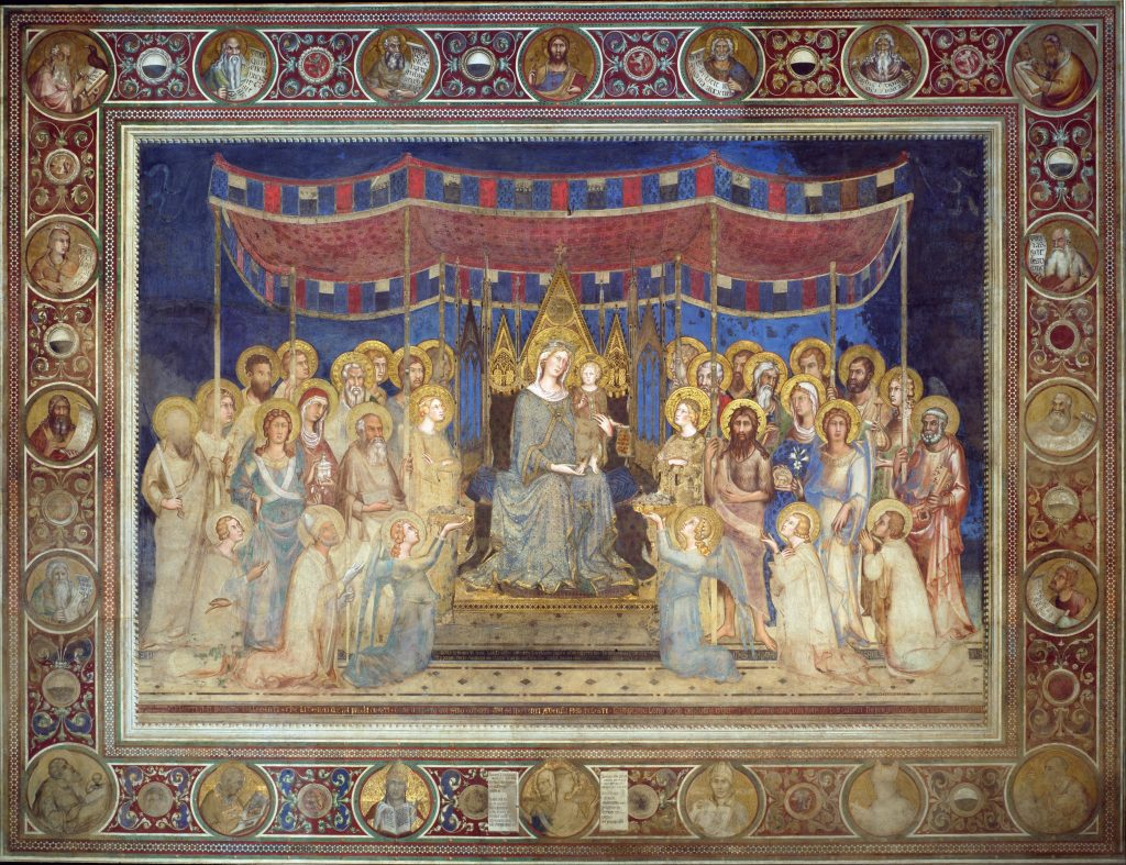 Enthroned Madonna with the child Jesus, whether or not accompanied with angels and saints.
