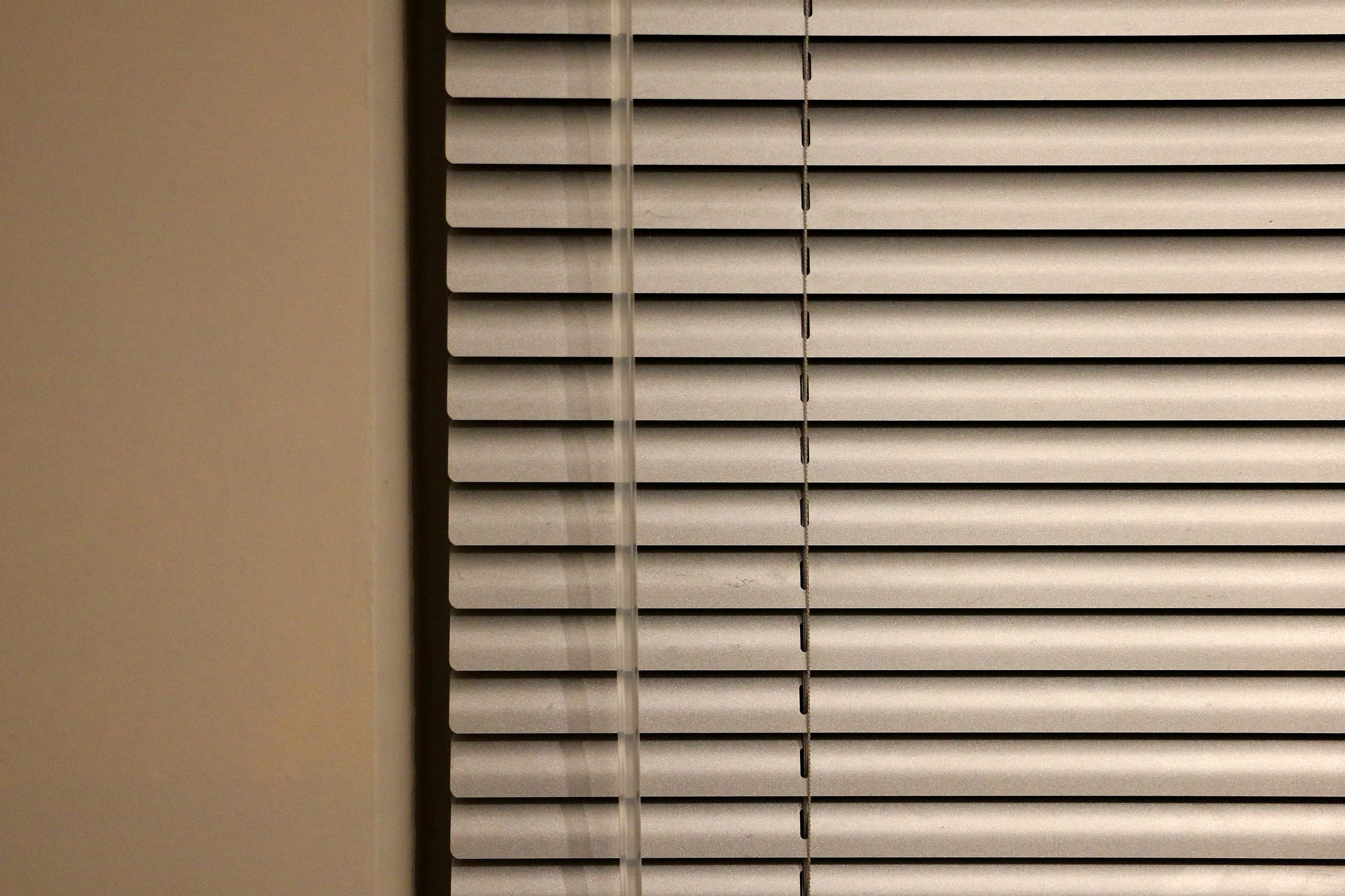 Beige office blinds.