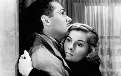 A black and white film still from Rebecca