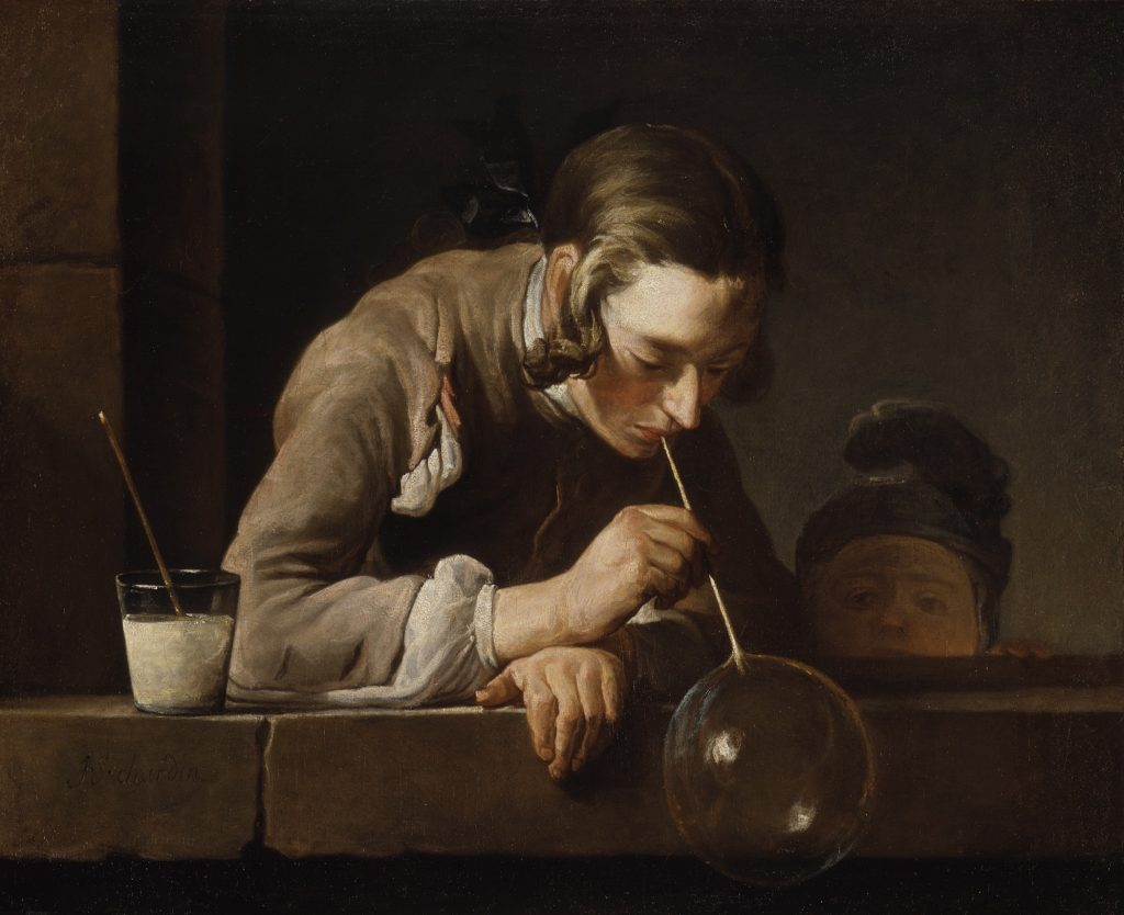 In Jean Baptiste Siméon Chardin's Soap Bubbles, a childhood game becomes a metaphor for the impermanence of life.