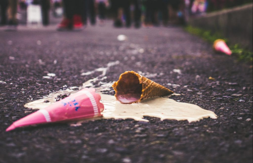 A melted ice-cream in a street.