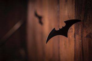 """A shuriken depicting the symbol of the superhero Batman, also known as """"The Dark Knight"""""""