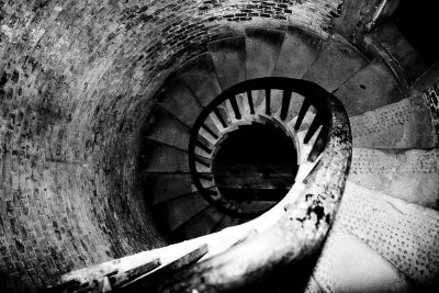 Sixty Stories | Dino Buzzati's fantastic reality - dark spiral staircase