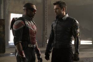 The Falcon and the Winter Soldier, two superheroes facing each other