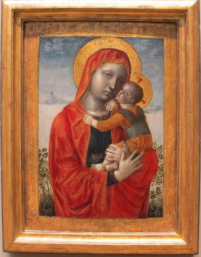 Vincenzo Foppa's style, characterised by solidity, light and volume is clearly shown in this Madonna and Child.