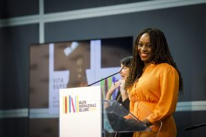 Chimamanda Ngozi Adichie at the opening event of the Turin Book Fair